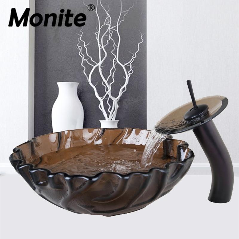 Unique Design Wave Side Transparent Basint Tap+Washbasin Glass Hand-Painted 4188-1 Lavatory Bathroom Sink Bath Mixer Faucet