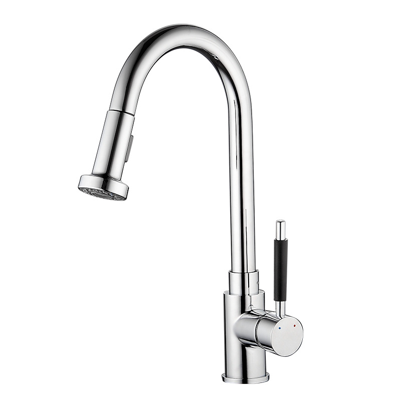 Vidric New kitchen multi-function hot and cold drawing faucet Retractable stretch single-joint faucet Vertical faucet + tube