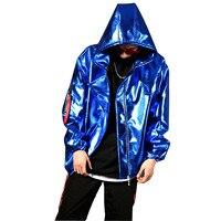 Men Blue PU Leather Jacket Hooded Loose Baseball Coat Male Nightclub Stage Show Hip Hop Clothing Jacket Costumes