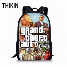 THIKIN Kids School Bag Grand Theft Auto Print Polyester Student School Backpack Popular Game Girls Boys School Book Bags Custom dispalang popular 16 inch children school backpack ballet dancing shoes prints customized school bag elementary student book bag
