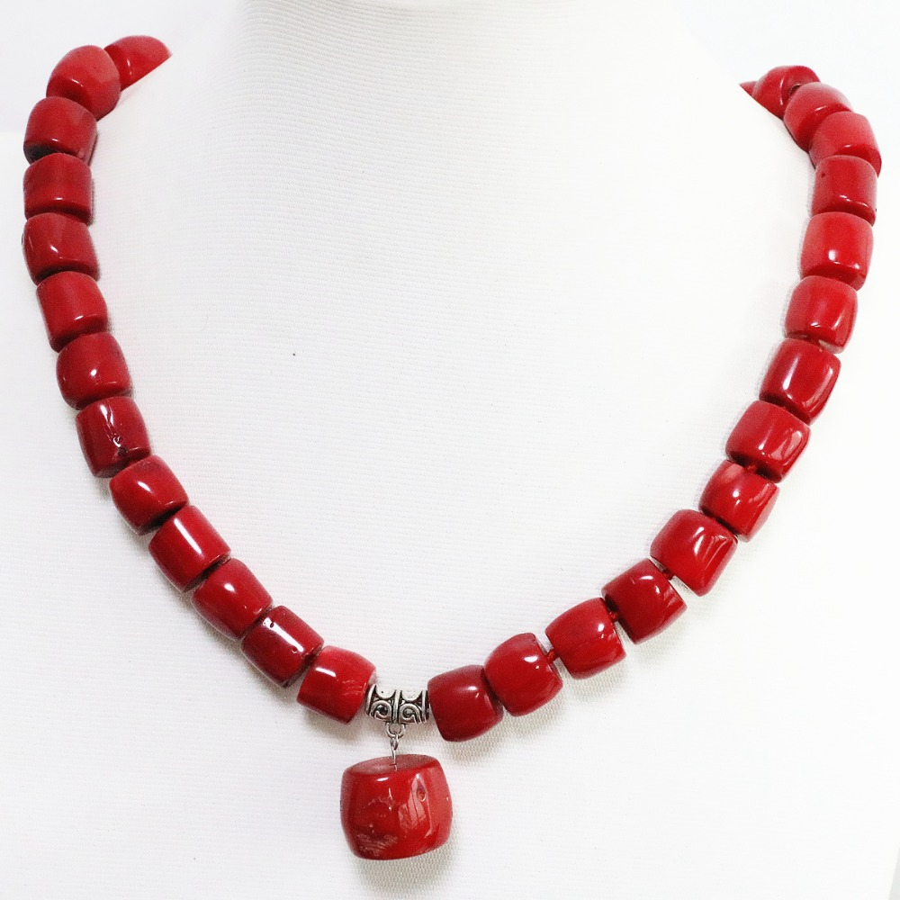 Natural red top quality coral irregular 11*15mm noble tube barrel beads 13*18mm pendant charms necklace 18inch B1505