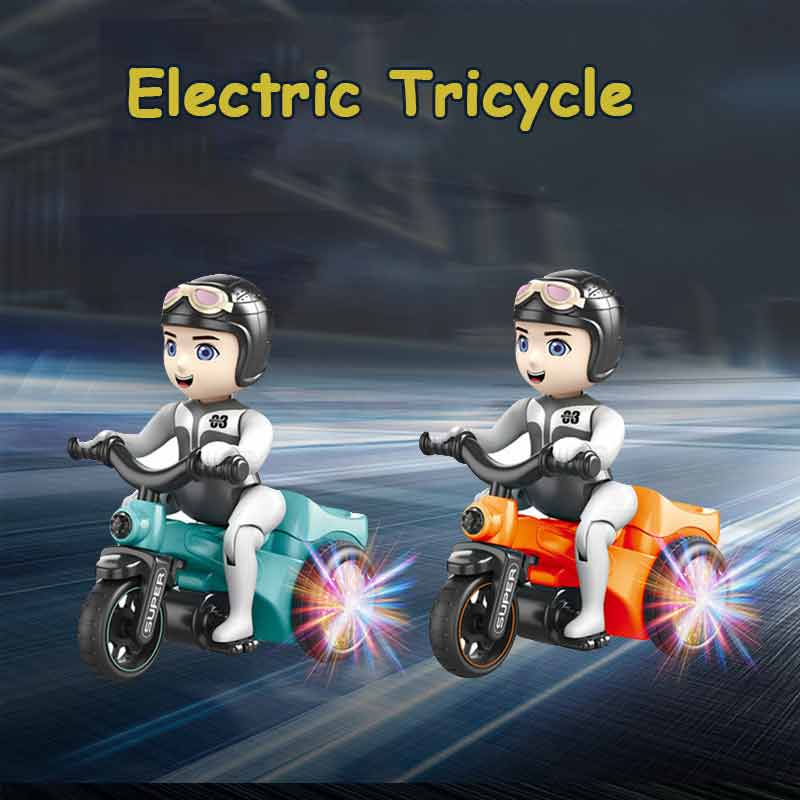 Kids Electric Tricycle Light Musical Motorcycle Battery Operated Cartoon Bicycle Electric Children Rotating Toy Car
