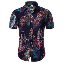 Hawaiian Shirt for Man Feather pattern Linen Cotton Short-sleeved Blouse Men Social Mens Clothing Slim fit Summer