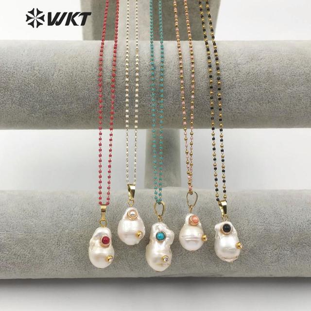 WT JN091  WKT Special Design Multi optional Colors Crystal Necklace With Baroque Pearl Pendant Gift For Women with charms