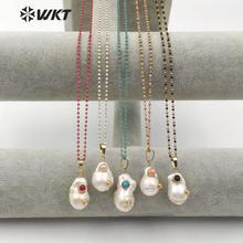 WT JN091 wkt design especial multi opcional cores colar de cristal com barroco pérola pingente presente para mulher com encantos