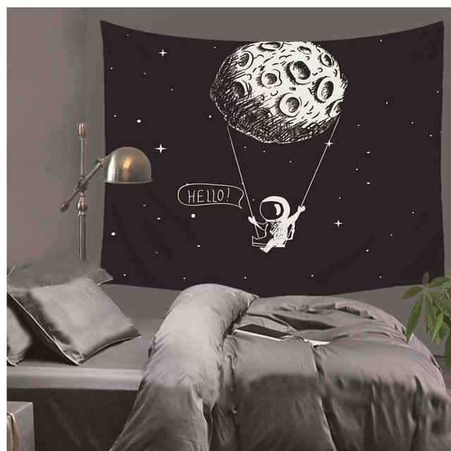 Moon Spaceman Astronaut Printed Wall Tapestry Wall Hanging Boy Bedroom Decoration Astronomy Education Tool Home