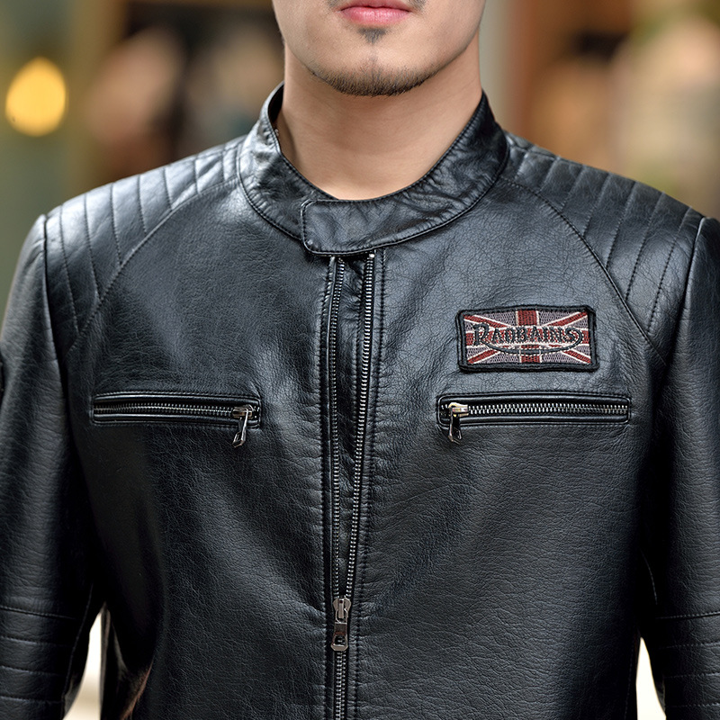 2017 New Fanshion Autumn Men Brand Split Leather Jacket Trend Motorcycle Slim Fit Sheepskin Leather Jacket Free Shipping