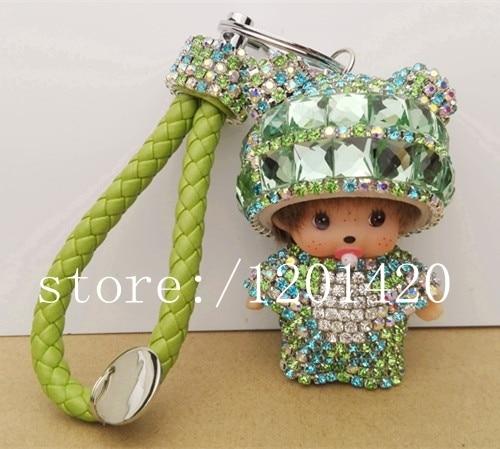 Lovely Green Monchhichi Keychains Pacifier Panda Hat Monchichi Key holder Hot leather landyard Key Chain bling crystal bag charm