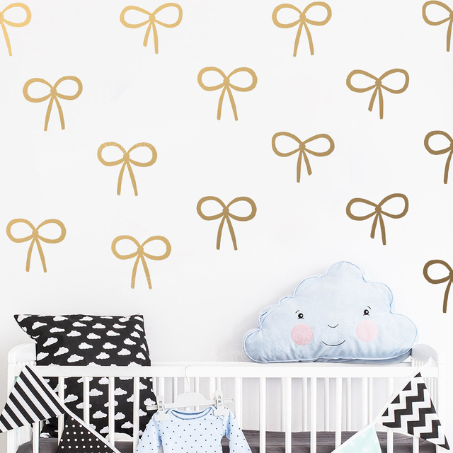 Cute Bow Wall Decals Girls Room Decor Gold Decal Waterproof Vinyl ...