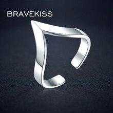 BRAVEKISS, v-образная форма, 925, серебряное кольцо, дизайн для женщин, цена, открытые, регулируемые, простые, треугольные, кольца на палец, ювелирное изделие, BLR0313