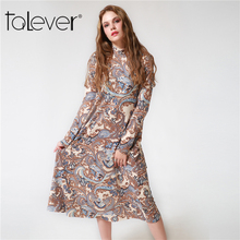 2018 Winter Autumn Women Casual Cashew Flowers Print Dress Brief Turtleneck Loose Dress Pockets Female Sexy Split Party Dress