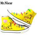 Mr.Niscar Men Shoes Spring Summer Pikachu Mens Casual Shoes Anime Pokemon Graffiti Canvas Shoes Breathable Flat with Shoes