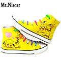 Sr. Niscar Sapatos Masculinos Primavera Verão Sapatos Casuais Mens Anime Pokemon Pikachu Graffiti Sapatas de Lona Respirável Plano com Sapatos