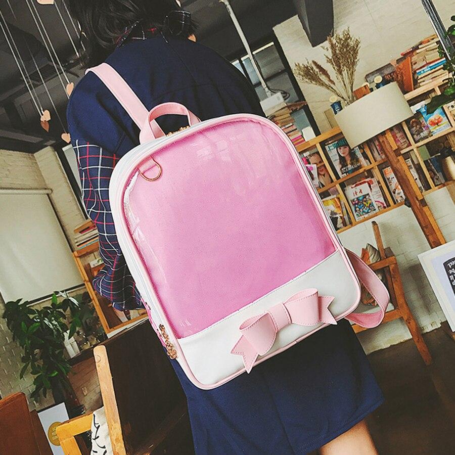 MANFUNI Cute Clear Transparent Bow Backpack Ita Bag Harajuku School Bags For Teenage Girls Rucksack Kids Kawaii Backpack Itabag
