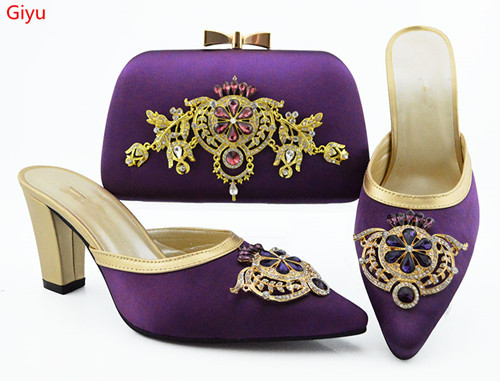 doershow Latest Design Matching Italian Shoe and Bag Set.pink Wedding and Party African Shoes and Bag Set for lady!HVC1-38