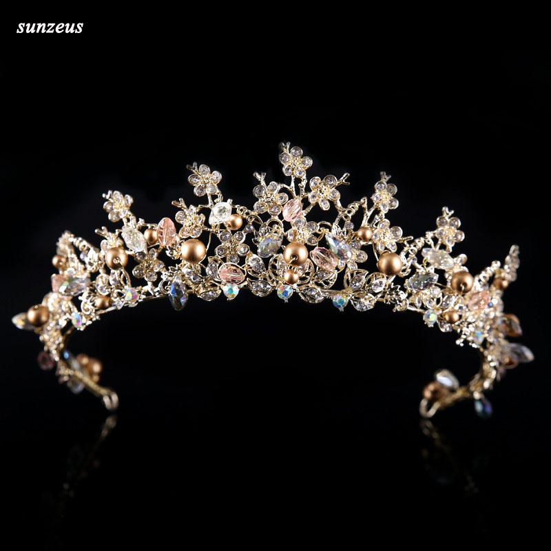 Gold Baroque Bridal Crown Beautiful Flowers Branch Wedding Tiara Pearls Crystal Headwear SQ0280