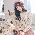 2017 весны женщин новый sweet little свежие цветы вышитые цветы вязать пуловер короткие свитера