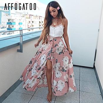 0cd8436b1 Affogatoo Floral print tassel botton long skirt Women sexy split summer  beach maxi skirt Casual streetwear loose boho skirt