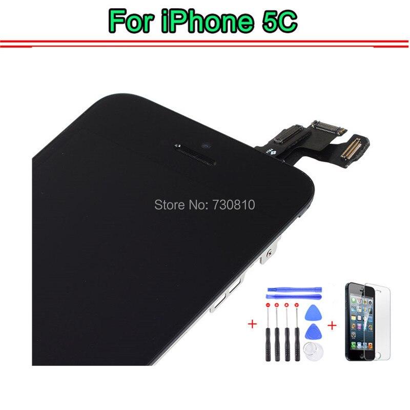 imágenes para A + + + Para la Pantalla LCD iPhone 5C con Pantalla táctil Digitalizador Asamblea + Frame + Botón Menu + Cámara Frontal + herramientas + Templado película de vidrio