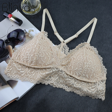 Blinvas Bra Wire Free Bras For Women Thin Cotton Lace A42 Black White Y-line Straps None Closure BH Sexy Bras For Women BH
