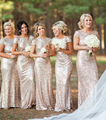 2016 Long Bridesmaid Dress Backless Gold Sequin Sheath Sparkly Wedding Bridesmaid Dress Champagne Gold Rose Gold Sequin Hot Sale