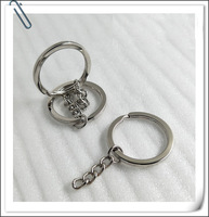 HC 200pcs/lot Silvery Keychain Alloy Circle DIY 30mm Keyrings Key Chain Wholesale Key Ring Trinket Porte Clef Free Shipping F
