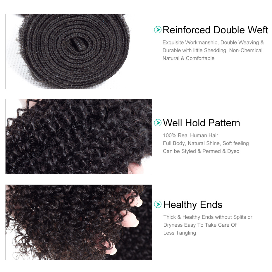 Gabrielle Indian Human Hair Weaves Kinky Curly 3 Bundles Natural Black Color Non Remy Hair Extension 8-28 inches
