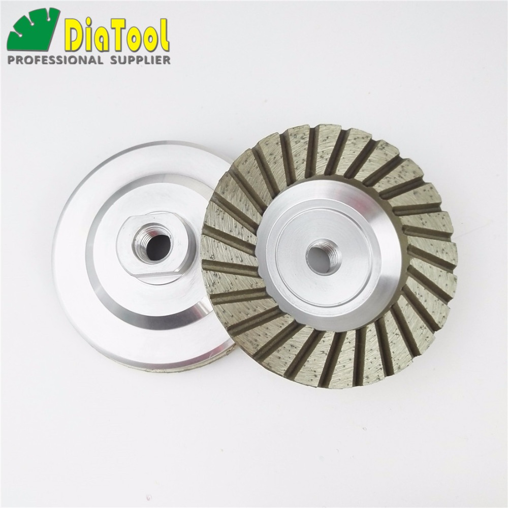 DIATOOL 2pcs 100mm Diamond Turbo Grinding Cup Wheel Dia 4inch Grit 30 Aluminium Base Grinding Disc Diamond Wheel Grinding Wheel 1piece electroplated diamond grinding wheel dia 65mm hole 22mm for round and straight 3 12mm glass edge tz74