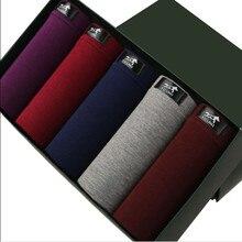 מכירה לוהטת 5 אריזת מתנה להגדיר מכנסיים רך מתאגרפים מודאלי בוקסר גברים בוקסר מוצק בתוספת גודל L 3XL בוקסר