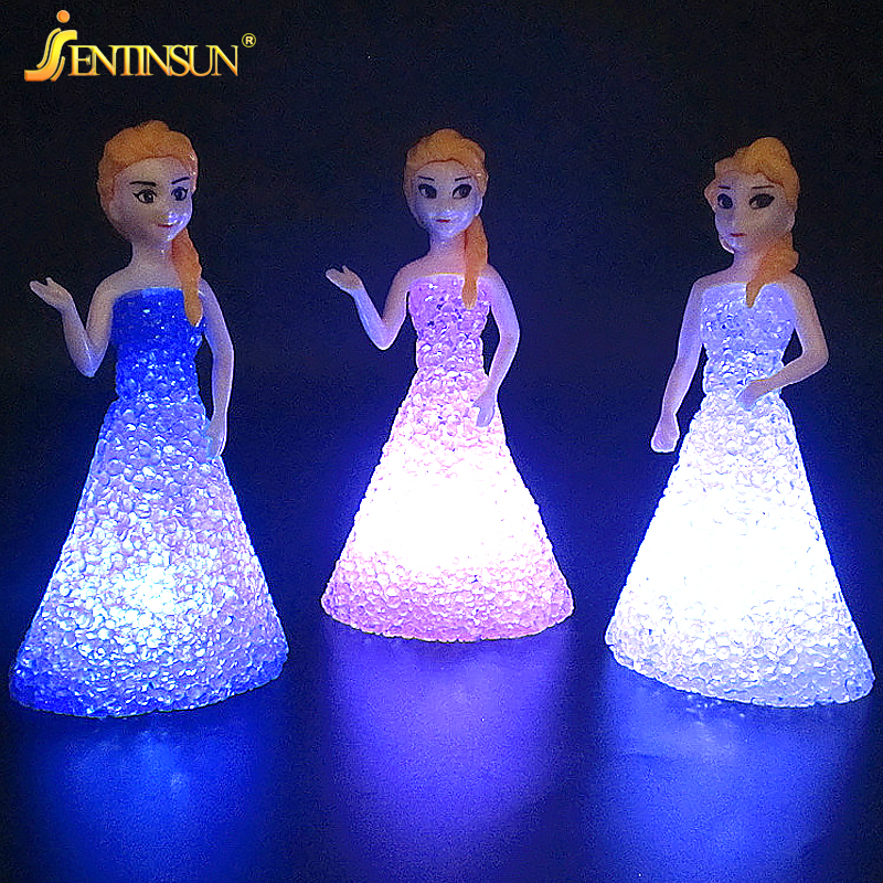 1pcs Novelty 3D Princess LED Night Light Luminous Childrens Toys Lamp Small Snow and Ice Table Desk Lamps Children Magic Gifts