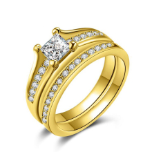 Fashion Luxury Gold Color Double Sleeve Ring White Zirconia Bridal Ste Ring For Women Wedding Ring Jewelry Size 6/7/8/9 R244