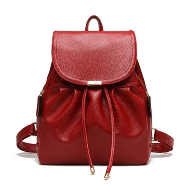 6a5898bc59 Women Leather Backpack School Bag For College Girls Fashion Drawstring Bag  Candy Color Travel Backpack High Quality 2016 Mochila