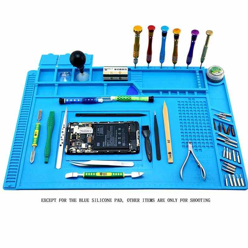 Magnetic Heat Insulation Silicone Pad Desk Work Mat Soldering Iron Phone Repair