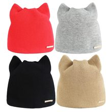 e6fb9e7b07109c Korean Version Solid Color Simple Warm Earmuffs Hat For Women Cat Beanies  Ear Flaps Hat Ladies