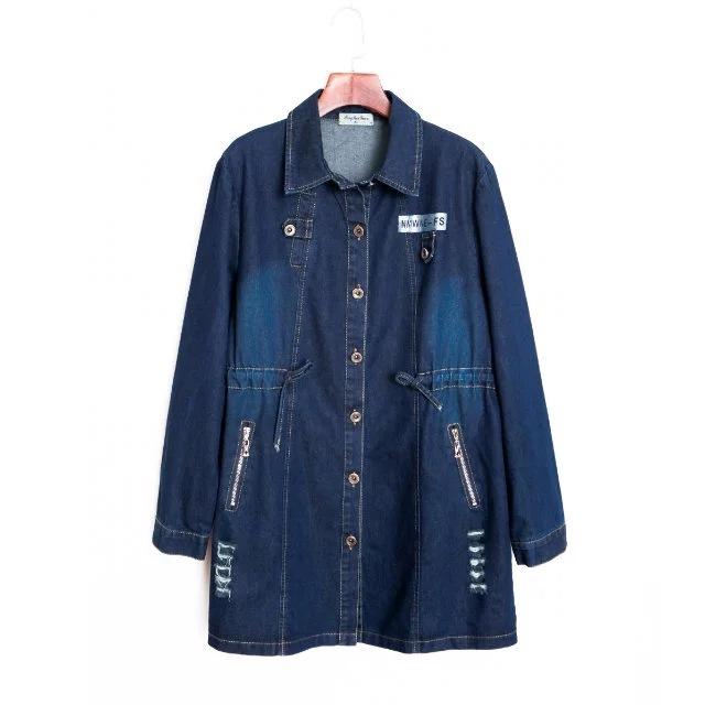 3XL2016 mujer larga afloje denim abrigo abrigo de otoño de las mujeres básicas más el tamaño carta agujero cintura elástica denim outwear abrigos casual
