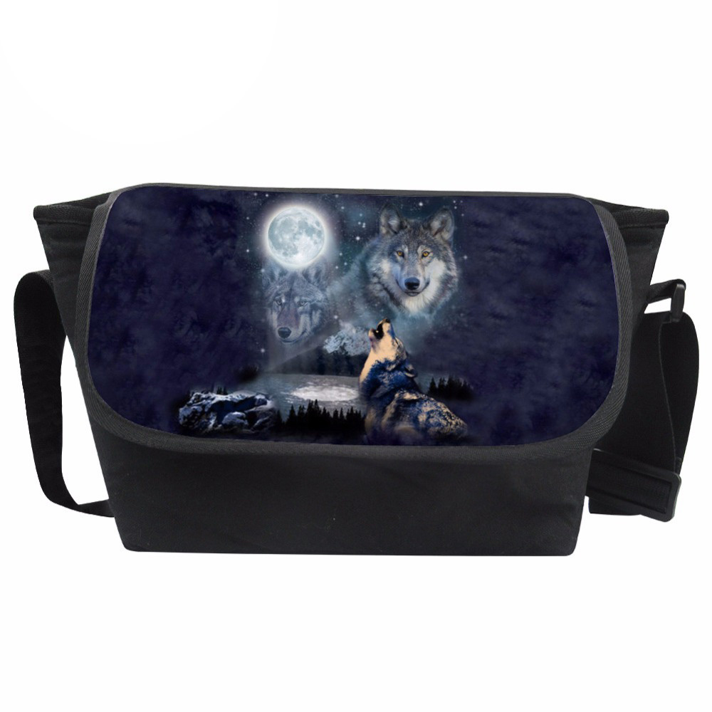 Customized Messenger Bag Men Wolf Print Bag Teenagers Cool Crossbody Bag Males Moon Pattern Shoulder Bag Fashion Bolsa