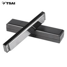 TSAI 24 Hole Double Tremolo Harmonica C Key Mouth Organ with Portable Case Musical Instruments for Beginner Harmonica Lovers