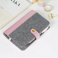 Japanese New Personal Dairy Felt With Pu Leather Travel Journal Golden Ring Office Binder Notebook Cute