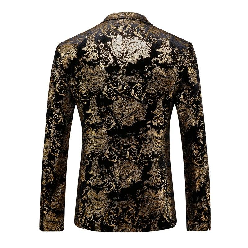 Fit Mariage Noir Imprimé Paisley Slim veste Costume Hommes De Smoking Pantalon Stade Or Golden Blazer Floral Costumes SCZYqYUPxw