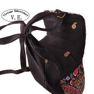 Image 2 - Mochila de lona étnica con bordado Vintage para mujer, bolso de viaje con bordado de flores hecho a mano, morral escolar, Mochila