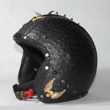 2016 Handcrafted Mens women Harley moto vintage motorcycle helmets genuine leather scooter jet helmet accept private order DOT