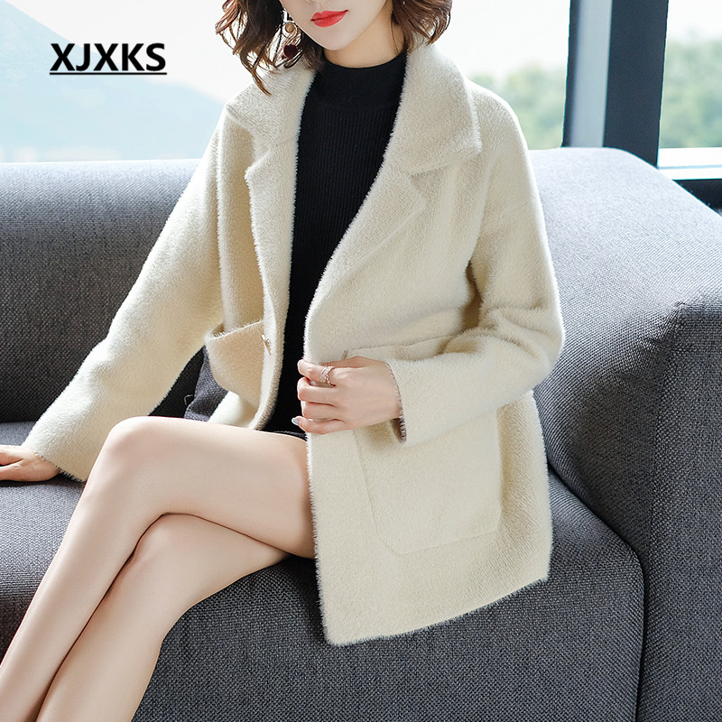 XJXKS Manteau Femme Hiver Cashmere Blends Coat For Womens Turn-down Collar 2018 New Arrival Women Woolen Coats