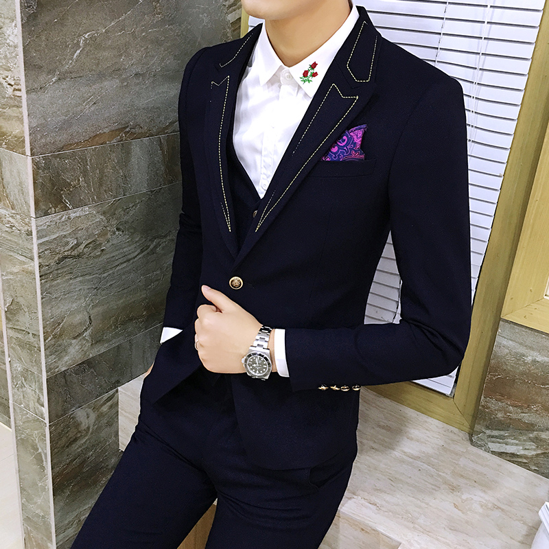 2018 New Mens Blazer Jackets Fashion Slim Business Male Wedding Dress Jacket Collar Gold Wire Decoration Casual Coats Men 2XL