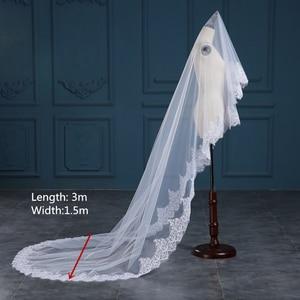 Image 5 - Romantic White/Ivory 3 Meters Wedding Veils Cathedral Veil Lace Edge One Layer Bridal Veil Wedding Accessories veu de noiva