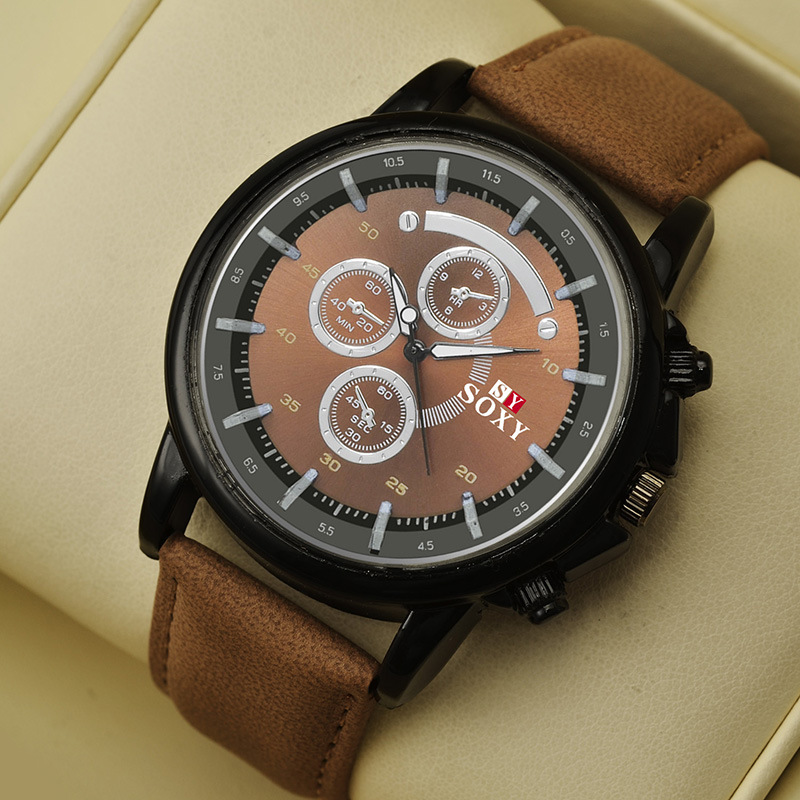 SOXY Leather Watch Men Quartz Sports Watches Clock Top Brand Luxury Man Three Dial Wrist Watch waterproof Relogio Masculino mance luxury men s watches fashion brand dragon rome digital leather hollow dial quartz wrist watch relogio masculino time clock