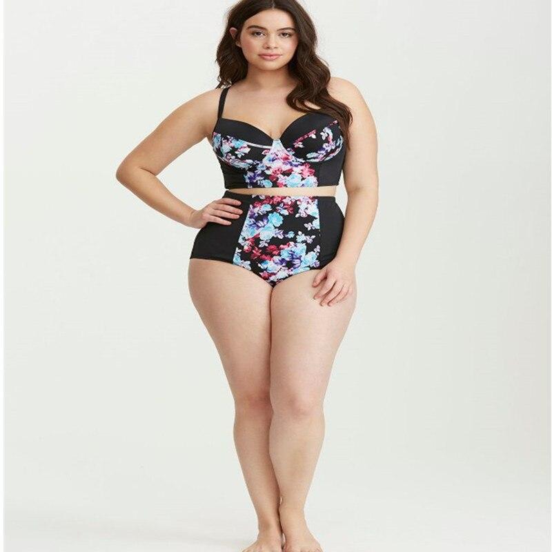 c6b4a19e7d4f0 18 New Sexy Big Size Two Piece Suit High Waist Bikini Set Plus Size Print  Floral Black Swimsuit Push Up Pad Bra Tankini XXXXL