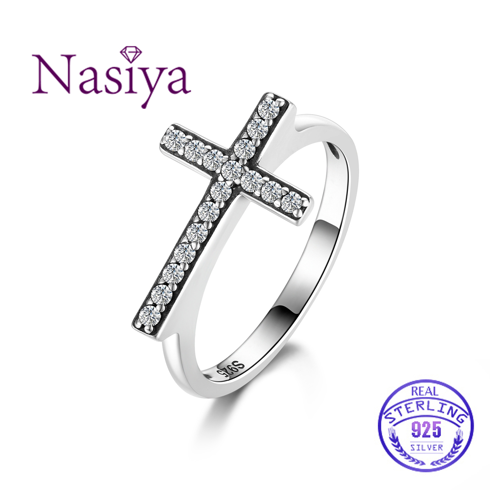 Nasia Silver Ring 925 Sterling Cross Shape Women Finger Ring With Black Round Zircon Jewelry Gift for Wedding Engagement