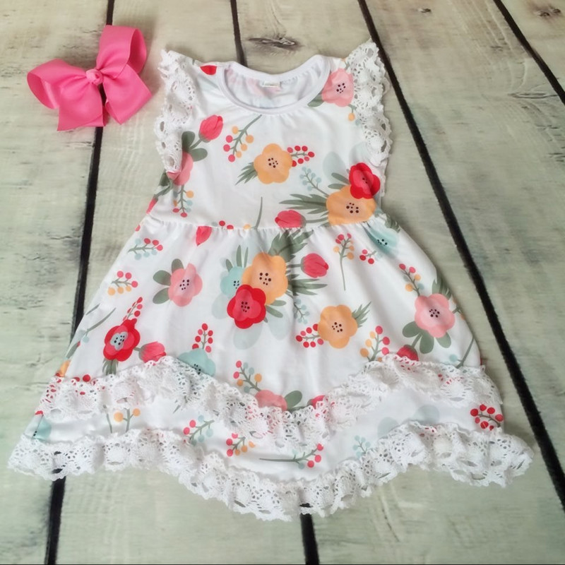 Summer Cotton Baby Girls  Boutique Clothes Dress Stiped Floral Lace Trim Ruffle Baby Girls Dress Toddler Outfit Lace Kids Clothes