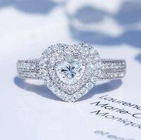 Классические роскошные ювелирные изделия чистый 100% 925 пробы Серебряный Груша Cut 5A кубического циркония Pave CZ вечерние обручальное кольцо для