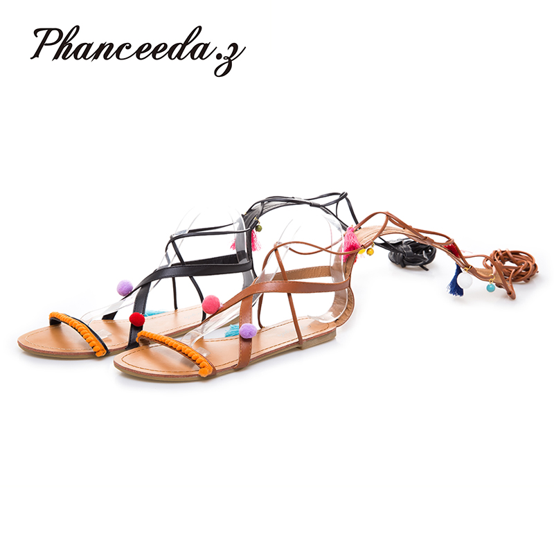 Phanceeda Gladiator Sandals Woman knee high sandalias botas Tassels Women Boots Sandal Shoes Woman sexy summer ankle boots Hair excellent design sandalias femininas tassels sandal summer shoes fashion design high heels gladiator womens sandals shoes